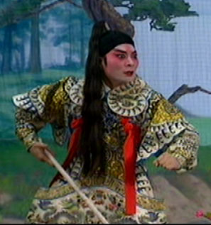 Actor Ngou Hoi Ming demonstrates the pony-tail hairstyle.  From the opera Gate of the White Dragon.