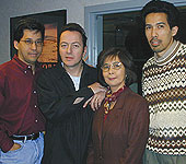 Joe Strummer with Randy, Pat and Chris Chin